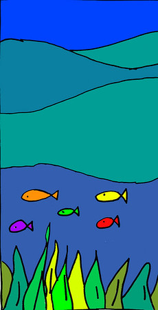 Elena sketched her little fishes in pencil and marker, then painted them in Photoshop.