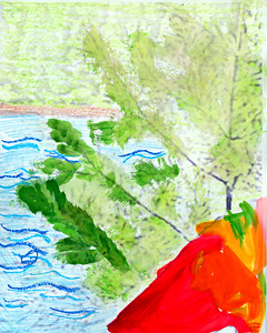 Crayon and watercolor painting, from Emily.
