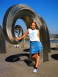 Here is Emily with a cool wave sculpture in Seattle (Ballard Locks).