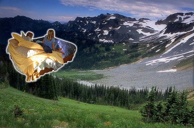 The Starbed whisks Emily and Elena to Summerland, our favorite meadow at the base of Mt. Rainier - dead ahead.