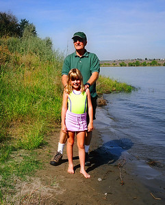 Dad with Elena on the shore of the Columbia River, very near where I spent my teens.