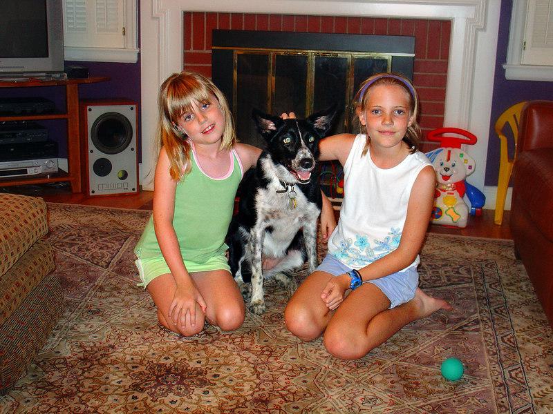 "Thegirls with June's dog Corran (aka ""Corn Dog"")"
