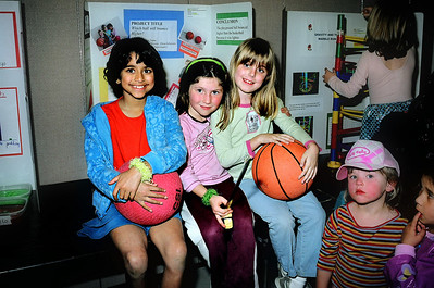 Elena with friends Nimisha and Christina, at the 2005 science fair.