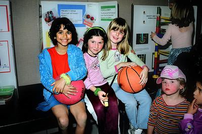 Elena with friends Nimisha and Christina, at the 2005 science fair.