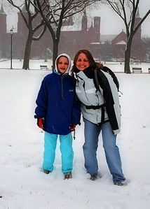 Emily with Sharon, on the mall, and in the snow.