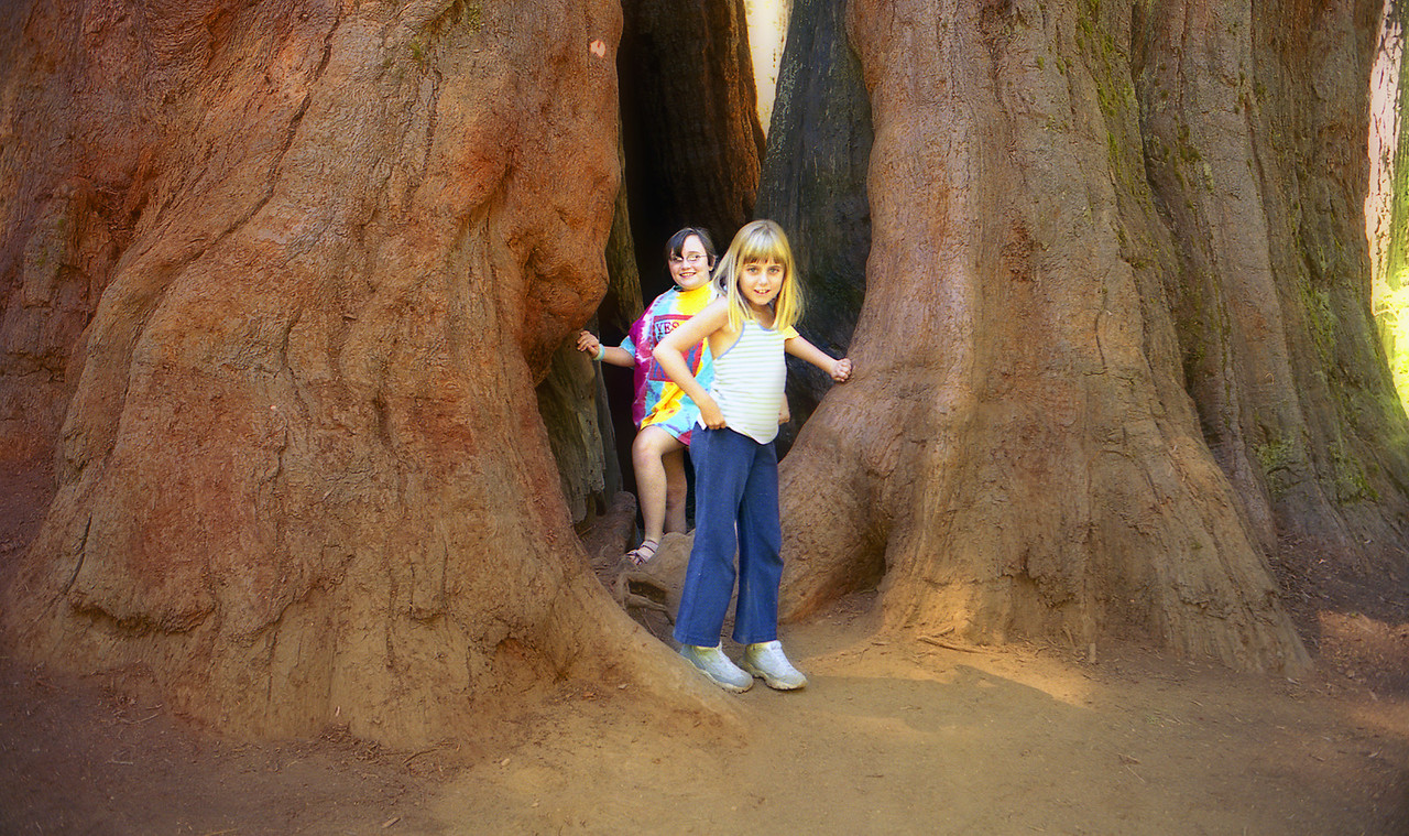 Elena and Laura next to a couple of Giant Sequoia.
