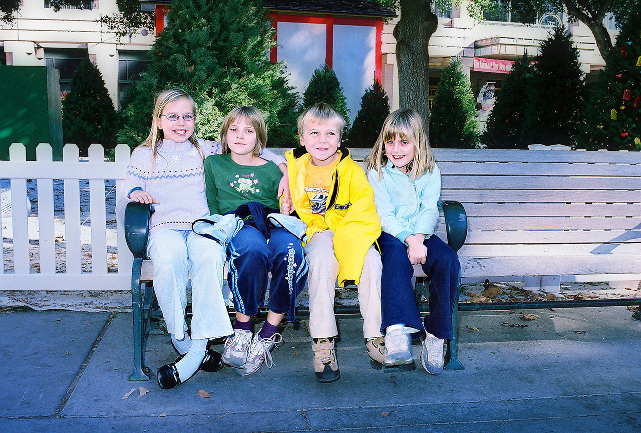 Another gang - Reyna, Emily, James and Elena - Christmas 2004.