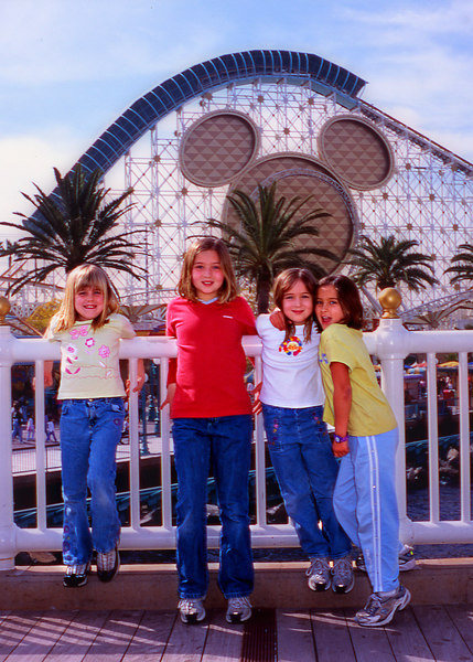 The girls in front of the California Screamin' roller-coaster. Yes, that is a complete loop-de-loo. Somehow Natalie got Elena and I to ride on that thing. (L to R: Elena, Kelly, Natalie - our Laughing Star - and Daniela.)