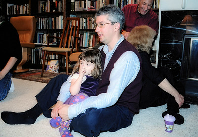 Claire with her daddy Paul. That's Marika and Gabby in the background.