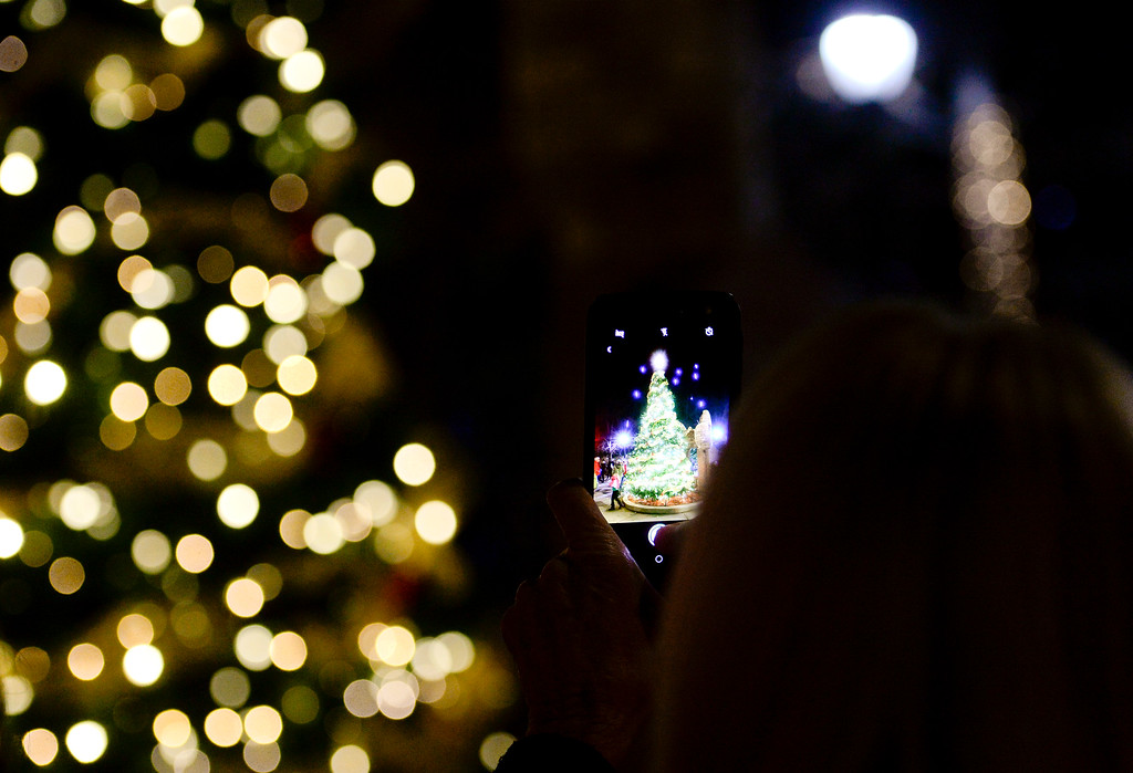 . Michelle Myers, of Longmont, takes a photo with her phone after the annual tree lighting in Longmont, Colorado on Nov. 24, 2017. (Photo by Matthew Jonas/Times-Call)