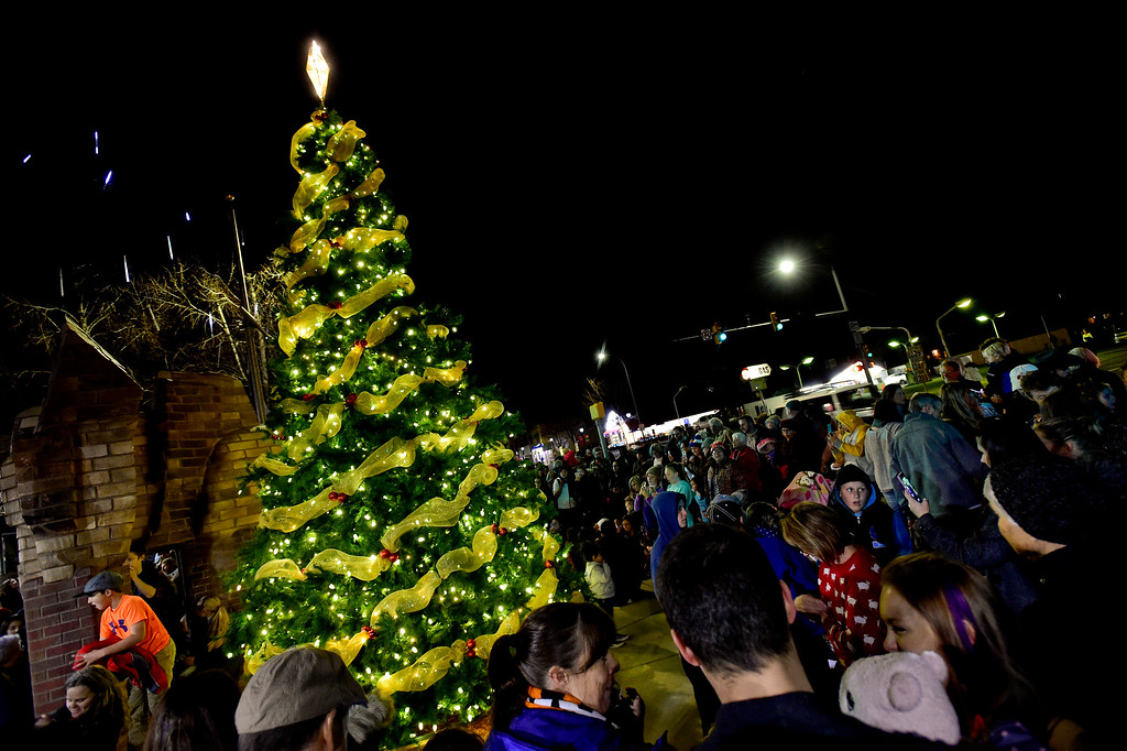 . A large crowd gathers to see the annual tree lighting in Longmont, Colorado on Nov. 24, 2017. (Photo by Matthew Jonas/Times-Call)