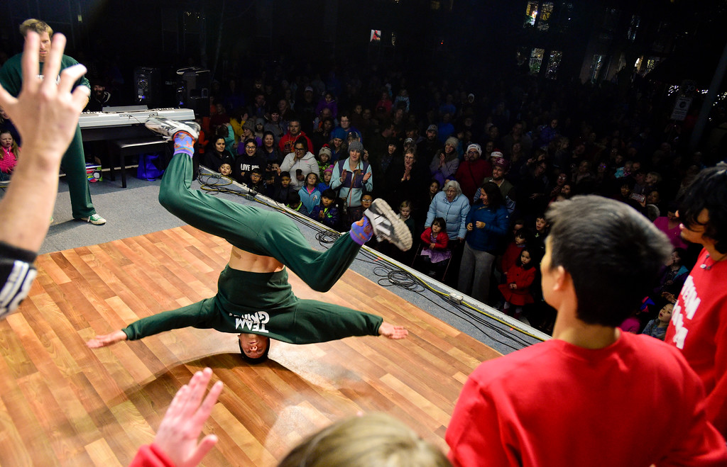 . Break dancers from Block 1750 perform before the annual tree lighting in Longmont, Colorado on Nov. 24, 2017. (Photo by Matthew Jonas/Times-Call)