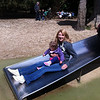 Catherine and Eva on the slide at Cotswold Wildlife Park