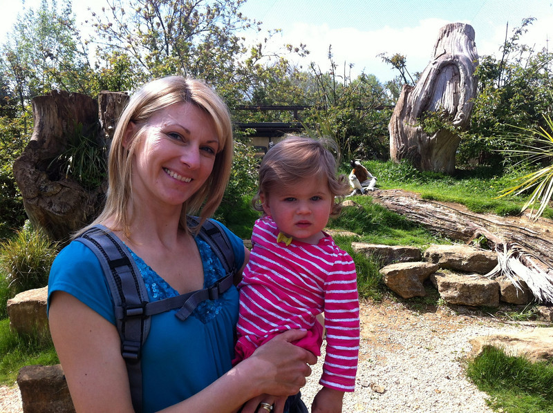 """Catherine, Eva and a Lemur in the """"Madagascar"""" area at Cotswold Wildlife Park"""