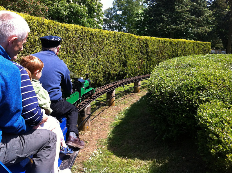 Riding the minature railway at Cutteslowe Park