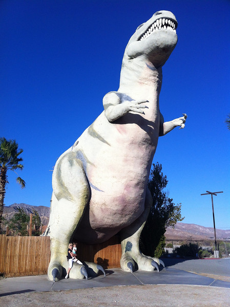 Enroute to LA via Palm Springs we found these huge concrete dinosaurs.