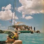 Catherine sunbathing and snorkelling