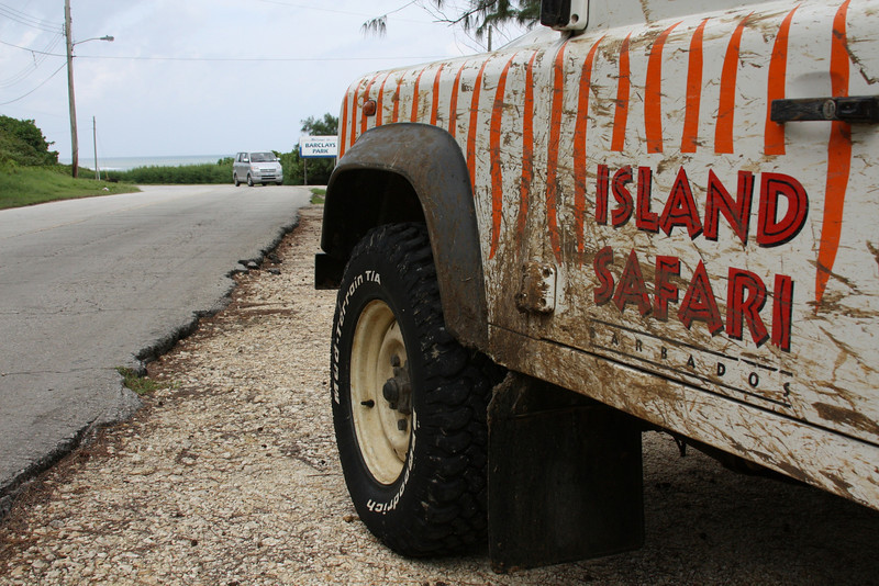 "Island Safari's Land Rover ""Garfield"" at Barclays Park"