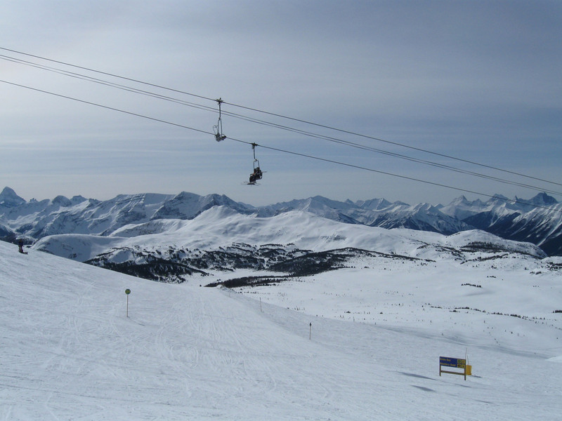 Sunshine Village, Looking down the Green Run under the Continental Divide quad chairlift