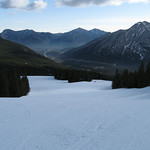 Wide open perfectly groomed pists at Nakiska