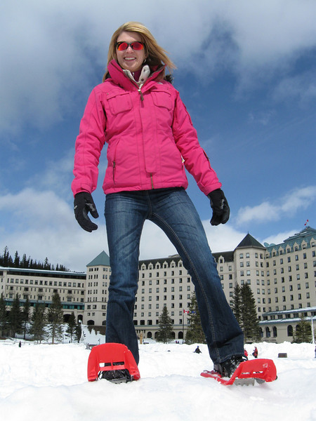 Catherine snowshoeing at Lake Louise Chateau