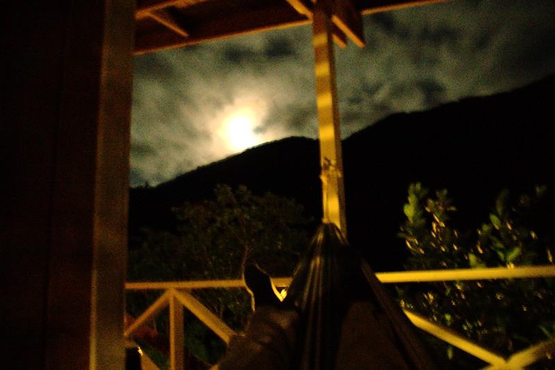 My feet, the moon, and a hammock.