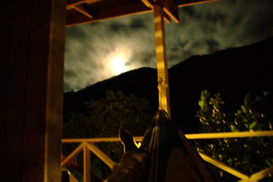 My feet, the moon, and a hammock.