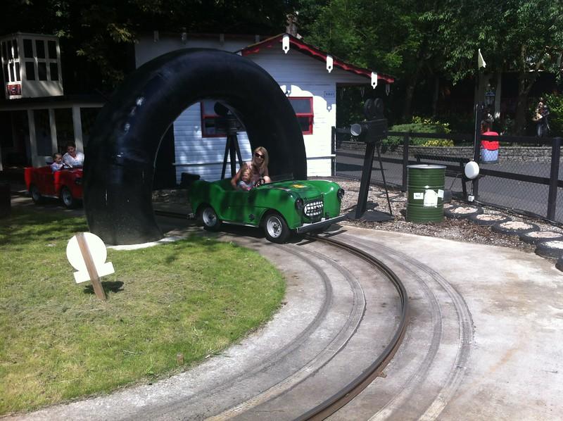 Eva & Catherine driving Sodor Classic Cars  at Drayton Manor.