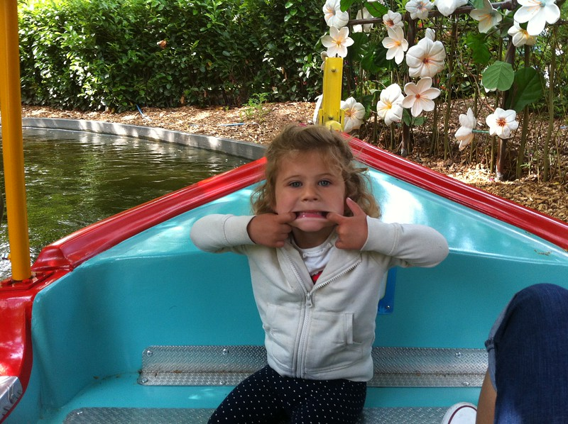 Eva being cheeky on the In The Night Garden Magical Boat Ride in CBeebies Land, Alton Towers.
