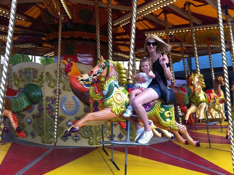 Eva & Catherine riding the Carousel  at Drayton Manor.