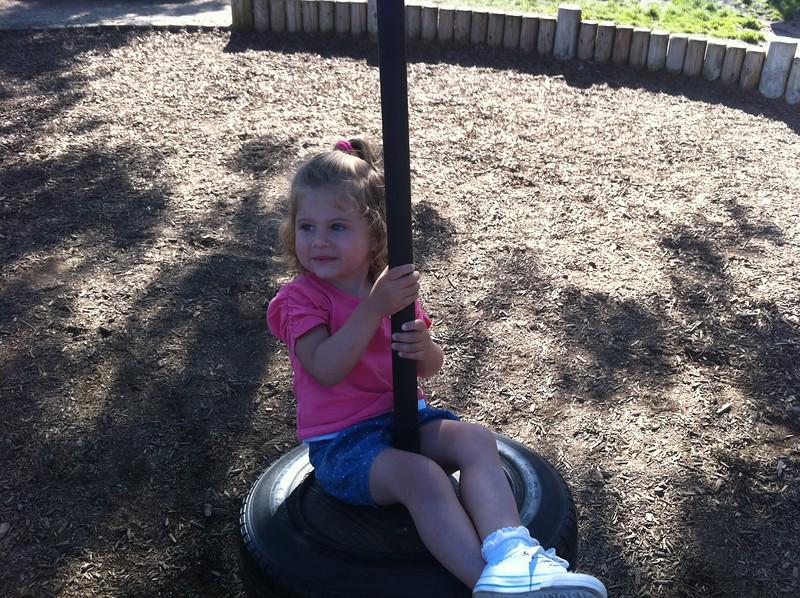 Eva enjoying a swing at Blackpool Zoo.