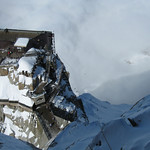 Looking down on the lower builidng at Aiguille du Midi with the cable cars below