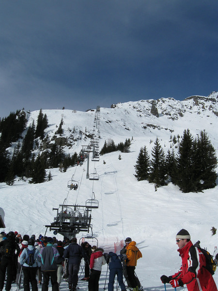 Looking up the Charlanon lift at Le Brévent ski area
