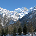 Looking up from Les Houches, with the Aiguille Du Midi at the top left.
