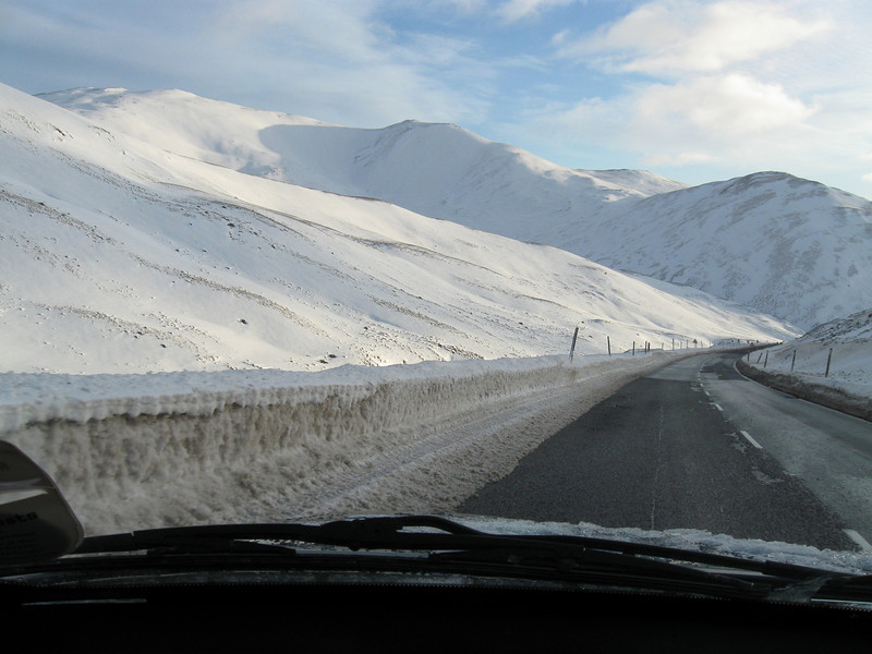 South on the A93 Cairnwell Pass, 3-4ft before ploughing