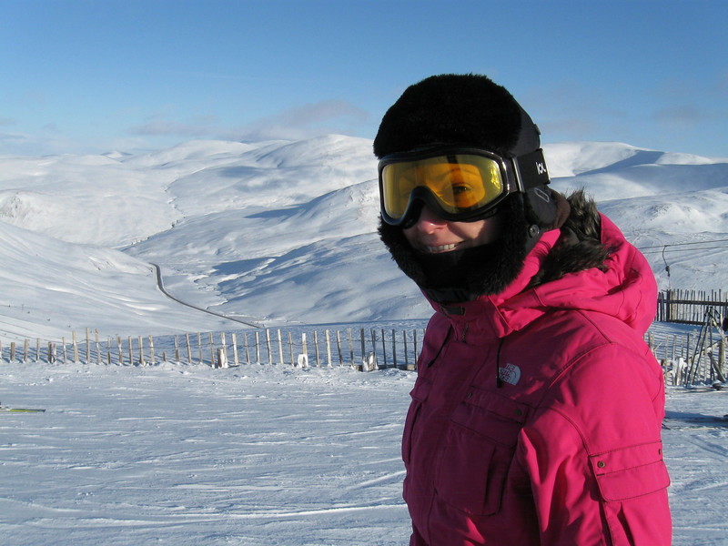 Catherine enjoying the conditions, the A93 in the background