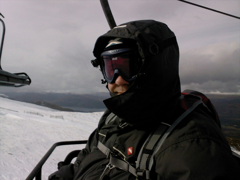 Braving the wind on the quad chairlift at Nevis Range