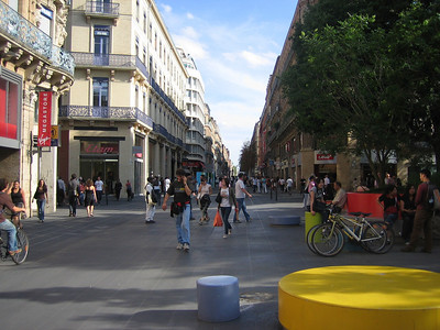 "Pedestrian section of Toulouse. In France, ""pedestrian"" includes bikes and motorcycles."
