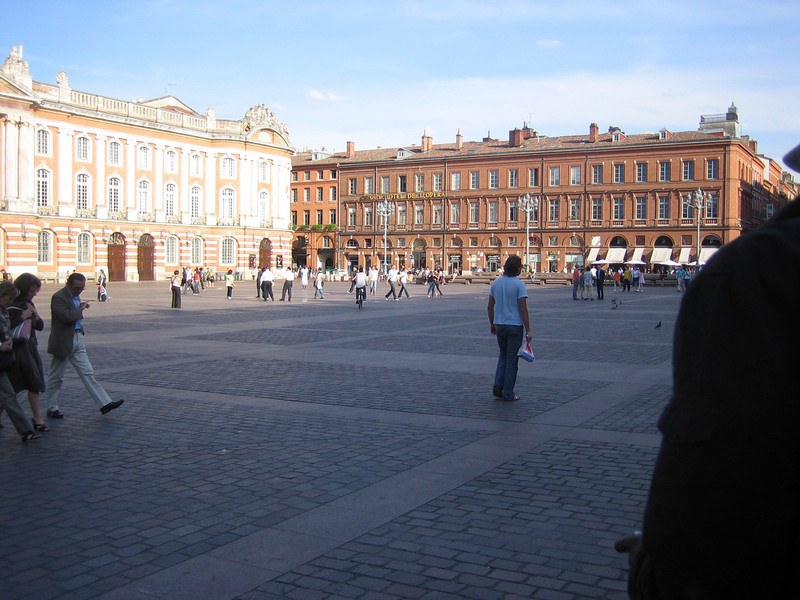 The main square in Toulouse. It was late in the day and the brick buildings sort of glowed.