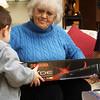 Grandma Getting Present Opening Help from Brendon.