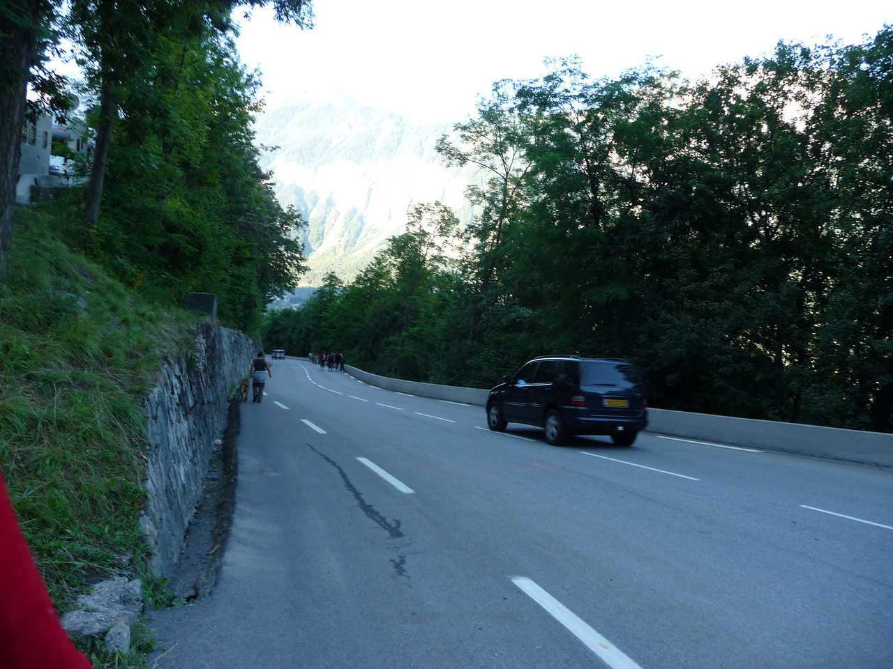Going up Alpe d'Huez. We started at 8am to beat the heat. It was smart. Location - Alpe d'Huez