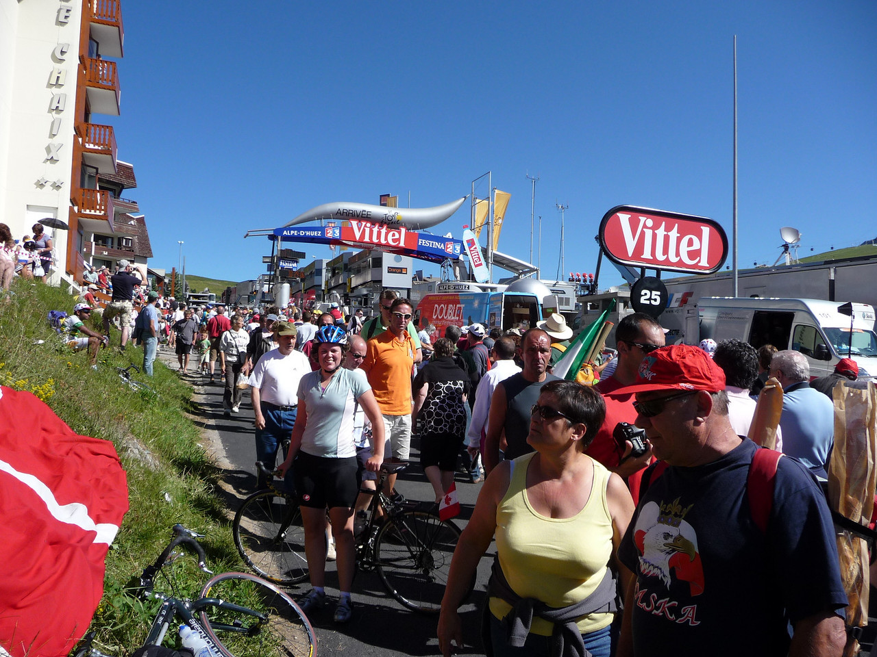 At the finish line at the top of Alpe d'Huez. It was madness up there - crowds of people and bikes and clowns everywhere. We took some photos and went 1/2 way down the mountain to watch the race. Location - Alpe d'Huez