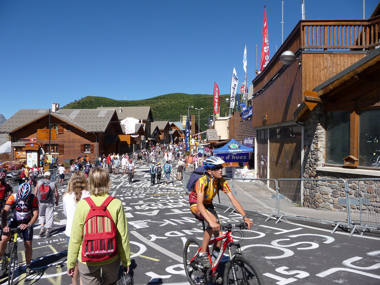 The roads were covered in messages to riders. Location - Alpe d'Huez