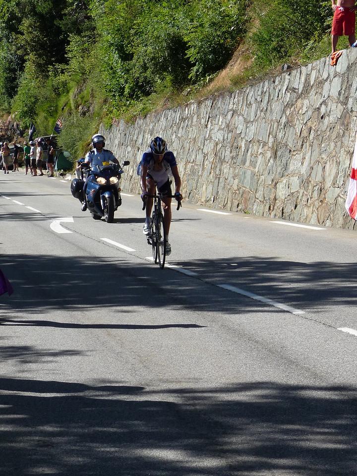 Ryder Hesjedal approaching switchback #11. Location - Alpe d'Huez