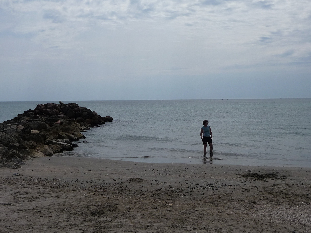 Testing the water in the Mediterranean. It was cold! Location - Frontignan