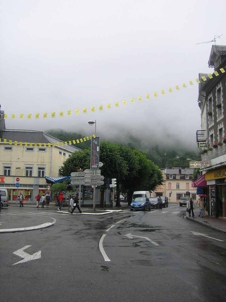 Downtown Bagneres de Bigorre the day before the tour arrives.