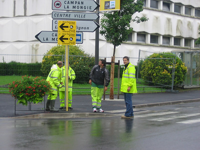 workers setting up the day before the Tour de France arrives in Bagneres de Biggorre