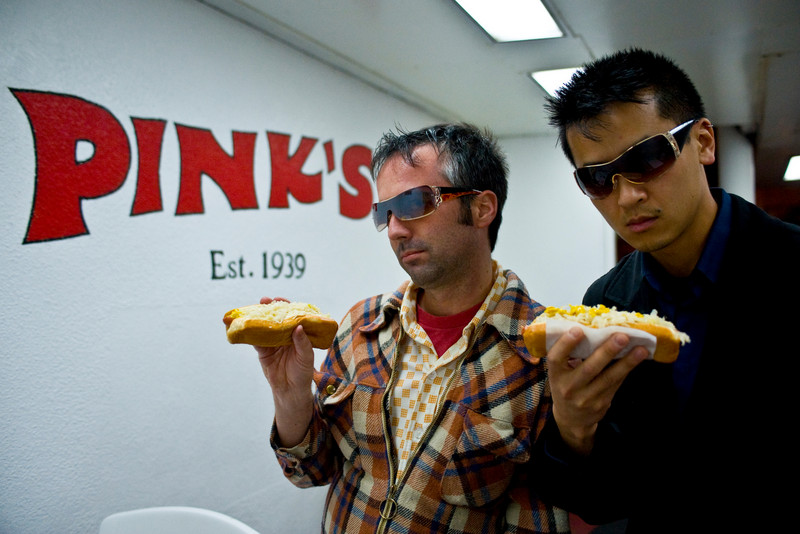 "the douchebags get a hot dog. <a href=""http://xoxo.smugmug.com/gallery/8893_yFirz#475688623_ej7dh"">see more douchebags in the band photo</a>."