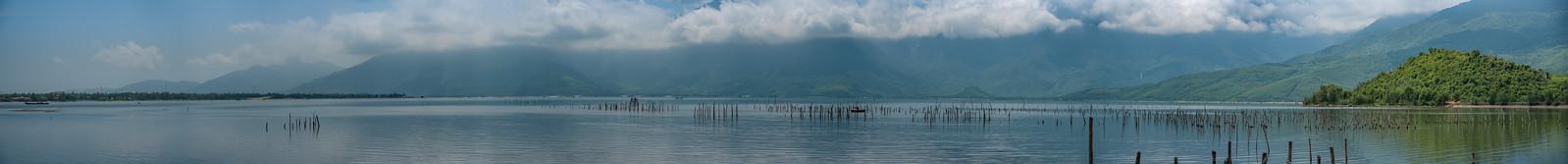 174 MP Panorama lake in Vietnam