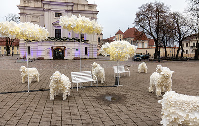 The decorative sheep and trees, at the square